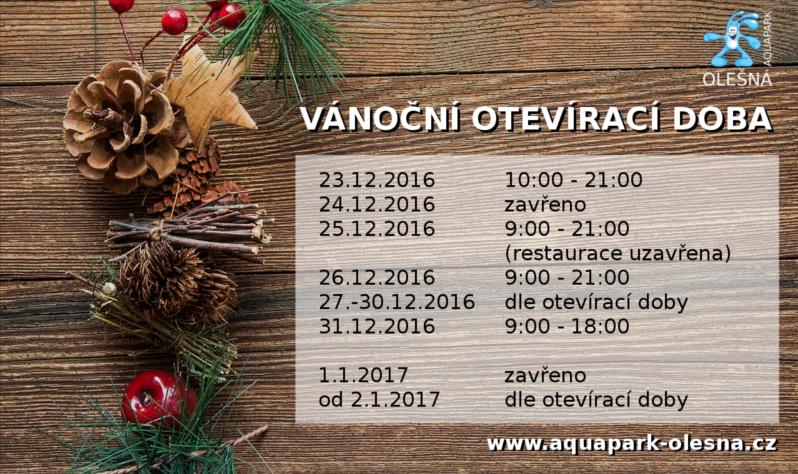 Sportplex - Aquapark Olešná - Vánoční otevírací doba 2016 93e81c5c46